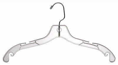 The Great American Hanger Company Plastic Top Hangers, Clear, Box of 100