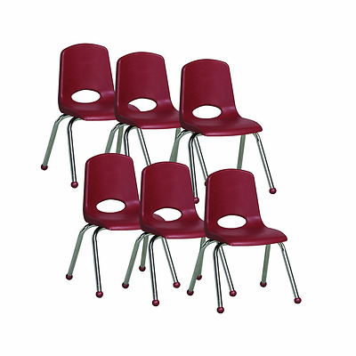 ECR4Kids School Stack Chair with Chrome Legs and Ball Glides, 14-Inch, 6-Pack, B