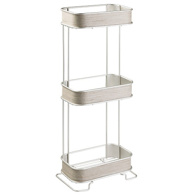 InterDesign RealWood Free Standing Bathroom Storage Shelves for Towels, Soap, Ti