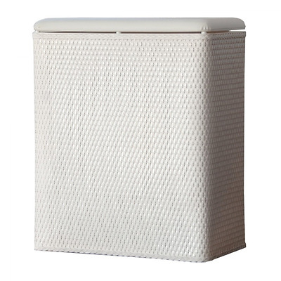 LaMont Home Carter Upright Wicker Laundry Hamper with Coordinating Padded Vinyl