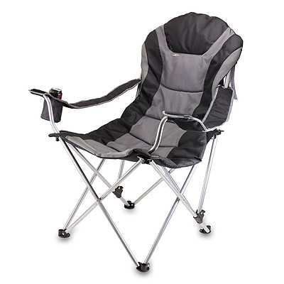 Picnic Time 803-00-175-000-0 Portable Reclining Camp Chair, Black/Gray
