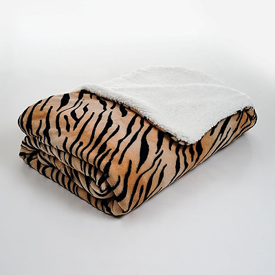 Lavish Home Fleece Blanket with Sherpa Backing, Twin, Tiger