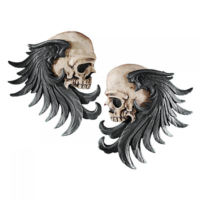 Design Toscano Bad to The Bones Winged Skull Sentinel Wall Sculpture (Set of Two