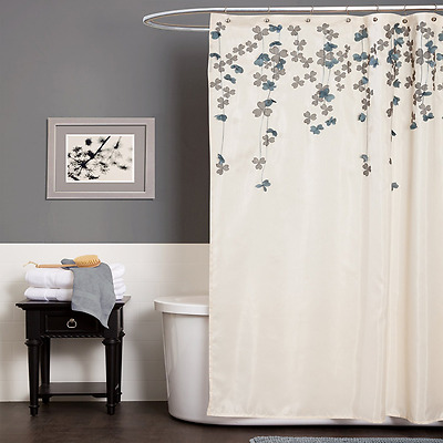 Triangle Home Fashions Lush Decor Flower Drop Shower Curtain, 72-Inch by 72-Inch