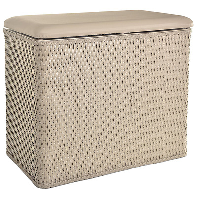 LaMont Home Carter Bench Wicker Laundry Hamper with Coordinating Padded Vinyl Li
