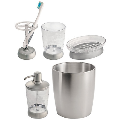 InterDesign Stainless Steel Countertop Bath Accessory Set, Soap Dispenser, Soap