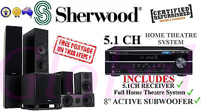 "Sherwood 5.1 Home theatre system w/ 8"" Active Subwoofer + Amplifier / Receiver"