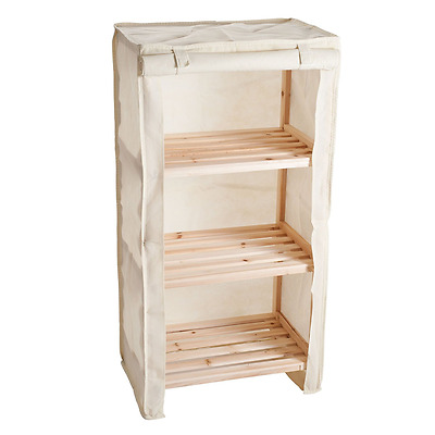 Lavish Home 3-Tier Light Wood Shelf with Removable Cover