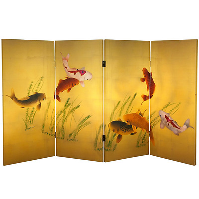 Oriental Furniture Tall Double Sided Seven Lucky Fish Canvas Room Divider, 3-Fee