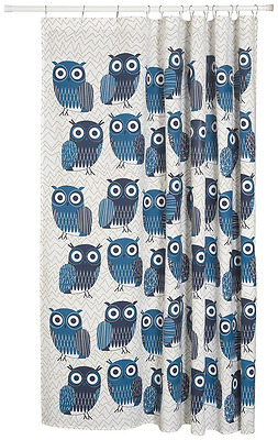 Now Designs Shower Curtain, Owls Blue