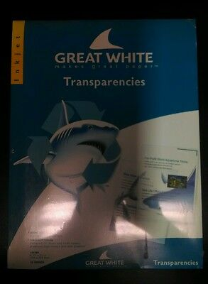 Great White Transparencies, Ink Jet Printer, New in Package, Overhead Projector