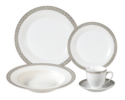 Lorren Home Trends Lorenzo Import Porcelain Dinnerware Set, 24-Piece Service for
