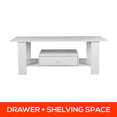 Coffee Table with Drawer Cabinet Storage Living Room Home Office Furniture White
