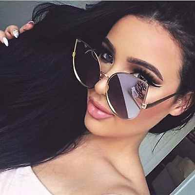Women Cat Eye Oversized Designer Mirrored Sunglasses Large Metal Frame Flat Lens