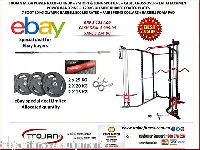 Power Rack Cable Cross Lat Attachment 120 Kg Oly Plates 7 Ft 20 Kg Olympic Bar +