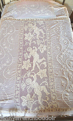 Antique French filet lace figural bed cover, white work, unused