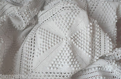 """Antique French hand knitted cotton bed cover, 85"""" x 74"""", matching pillow case"""