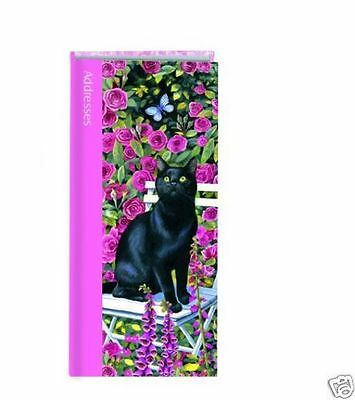 'Rose Garden' Black Cat Hardbacked Address Book Cat on chair pink roses