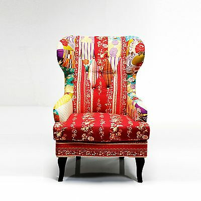 "COLORFUL PATCHWORK WINGBACK CHAIR | multicolour, 39.5""x32.5""x28.5"" 