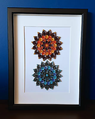 Fire and Ice Mandala Duo Quilled Paper Art in Frame   Modern Decor   GIFTING