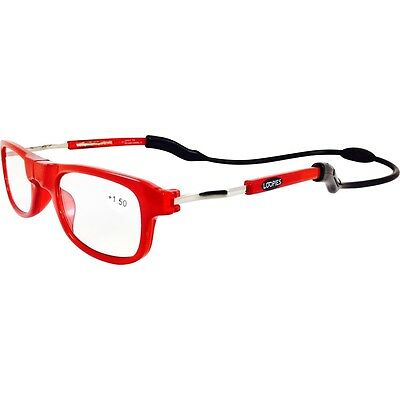 Magnetic Reading Glasses London Loopies Red Unisex UVA Case Cloth RRP £39.99