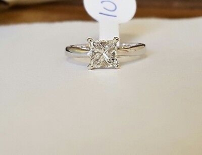 18ct white gold princess cut solitaire diamond ring 1.02ct