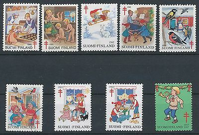 Finland 1980-1987 Used - 9 different official Christmas seals Anti-Tuberculosis