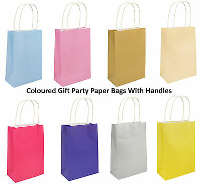 Coloured Gift Party Paper Bags With Handles Wedding Birthday Christmas Shopping