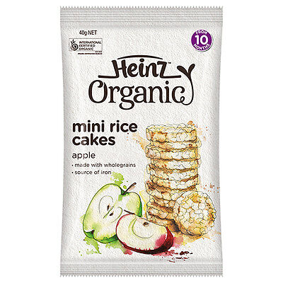 NEW Heinz Baby Food Organic Rice Cakes Iron Enriched To Assist