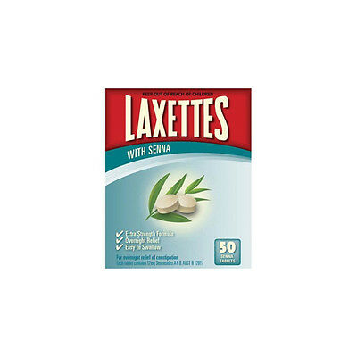 NEW Laxettes Laxative Pack Senna 50 Pack First Aid Accessories