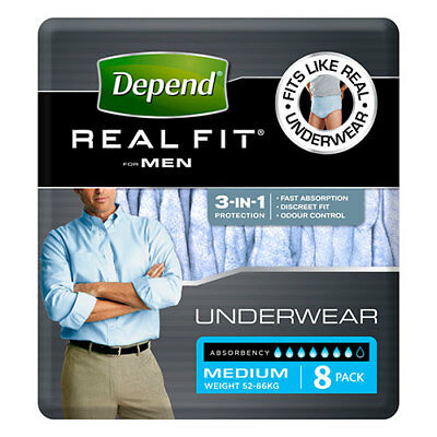NEW Depend Incontinence Aid Men's Underwear Discreet w/Max Absorbancy M 8Pk