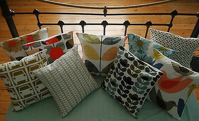 Handmade Orla Kiely Fabric Cushion Cover 16x16 Stem, Sweet Pea, Rhododendron