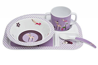 Lassig Dish Set Melamine with silicone, Little Tree Fawn