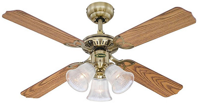 """Westinghouse """"Princess Trio"""" Ancient Brass Finish Celing Fan with Frosted Glass"""