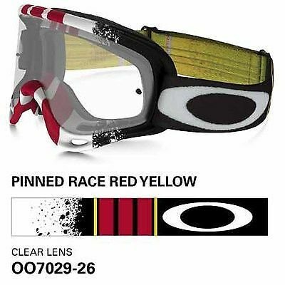 Oakley O Frame Goggles Pinned Red Black White Yellow Clear Lens Bmx Mx Enduro