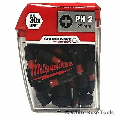 Milwaukee 25pk PH2 25mm Phillips Shockwave Impact Duty Screwdriver Bits Tic Tac