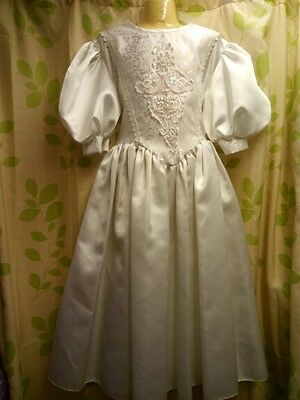 New Communion Dress White Beaded Girl Bridesmaid Pearl Lace Vintage Satin 8 9 10