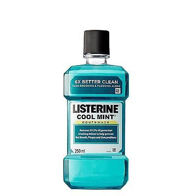 5 x Listerine Cool Mint Mouthwash 250ml (8.4 Oz) For Bad Breath, Plaque & Gums