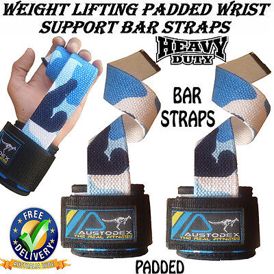 Camo Weight Lifting Power Bar Wrist Straps wraps Bodybuilding Gym gloves fitness