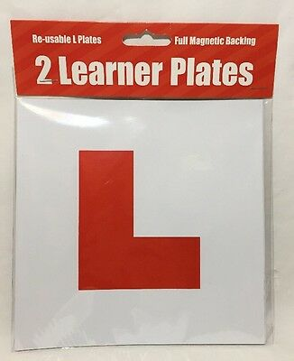 NEW 2 Learner Plates Full Magnetic Backing Re-Usable L Plates