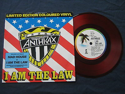 "Anthrax.i Am The Law 7"" Single Red Vinyl .uk.1987 .island.vg+/vg+."