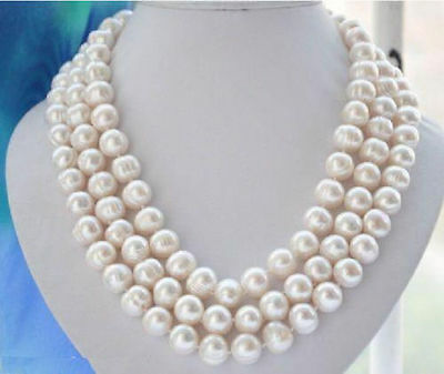 "natural 50"" AAA 10-11M SOUTH SEA NATURAL White PEARL NECKLACE 14K GOLD  CLASP"
