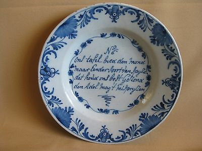 Rare 18th C. Dutch Delft Plate With Saying