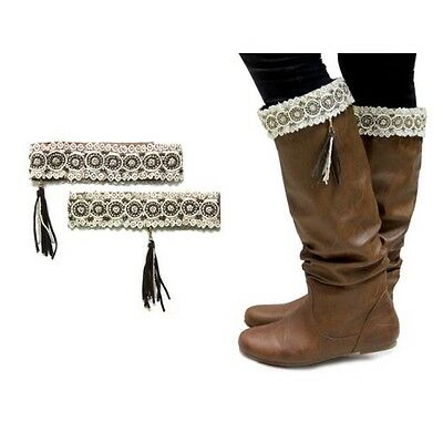 Beige Lace Boot Toppers with Leather Suede Tassle