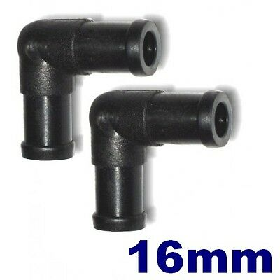 2x 16mm Knee Bend Elbow 90 Degree Hose Joiner Connector -Water,Coolant,LPG-NEW!