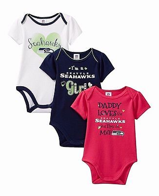Infant Girl's 6-12 Month Seattle Seahawks NFL 3 Pk Tee T-Shirt Bodysuit Pink
