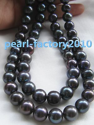 35'' 11-10 MM  SOUTH SEA NATURAL black  PEARL NECKLACE 14K GOLD  CLASP
