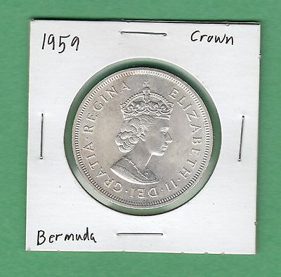 1959 Bermuda Crown Silver Coin - UNC, 0.841 ASW - 1609-1959