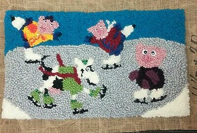 "Rug Hooking Pattern TRIPLE SOW & a COW on Red Dot Fabric 11.5"" x 20"""