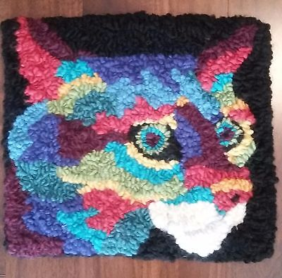 "Rug Hooking Pattern SMALL CRAZY COLOUR CAT on Red Dot Fabric 11.5"" X 12.5"""